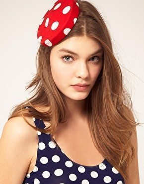 Red Polka Dot Pill Box Hat