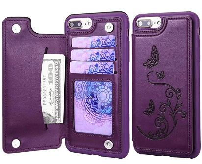 Purple floral iphone plus case