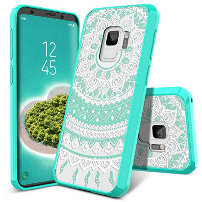 Green and white shockproof case for Galaxy s9