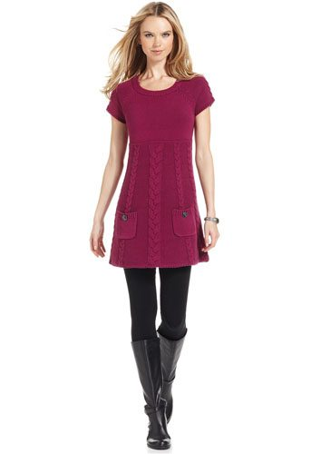 Cap Sleeve Cable Knit Tunic