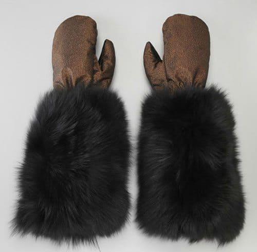 Fur Cuff Metallic Mittens