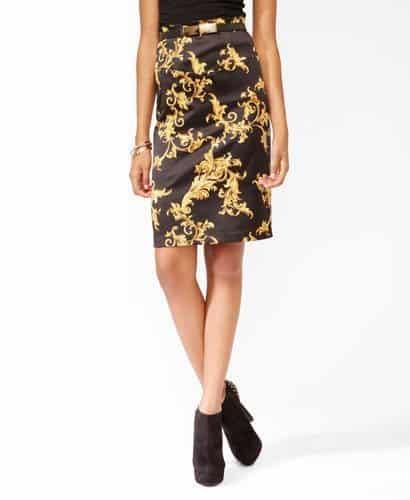 Knee-length Scarf Print Skirt