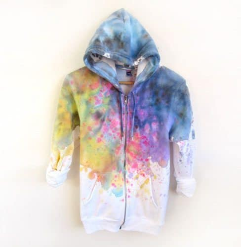 Splash Dyed Hand Painted Fleece Hoodie Sweatshirt