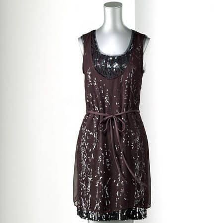 Simply Vera Vera Wang Sequin Mixed-Media Dress - Petite
