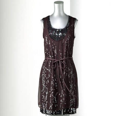 Simply Vera Vera Wang Sequin Mixed-Media Dress - Petite