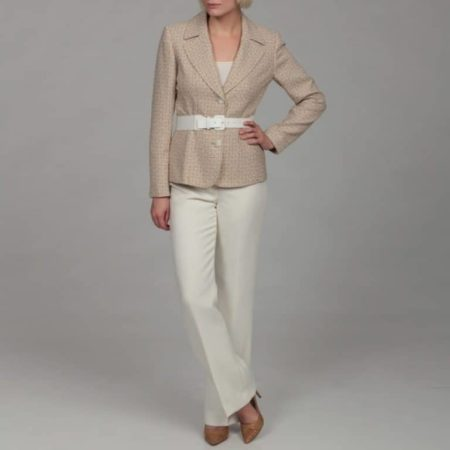 Beige belted jacket