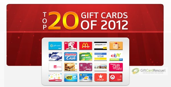 Still Gift-less? Here's 20 of the Top Gift Cards of 2012