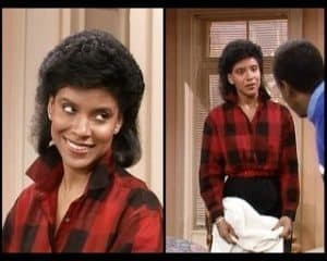 Collage of Clair Huxtable wearing plaid