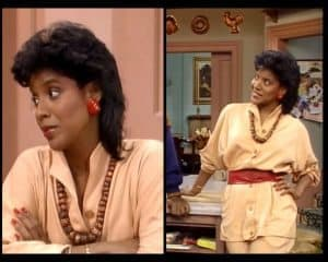 Collage of Clair Huxtable wearing belts