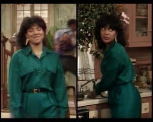 Collage of Clair Huxtable wearing green
