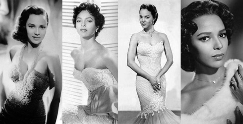 Collage of Dorothy Dandridge wearing formal dresses