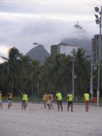 Beach soccer game in Brazil