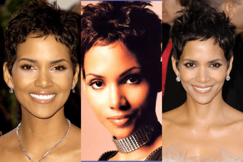Collage of Halle Berry with short hair