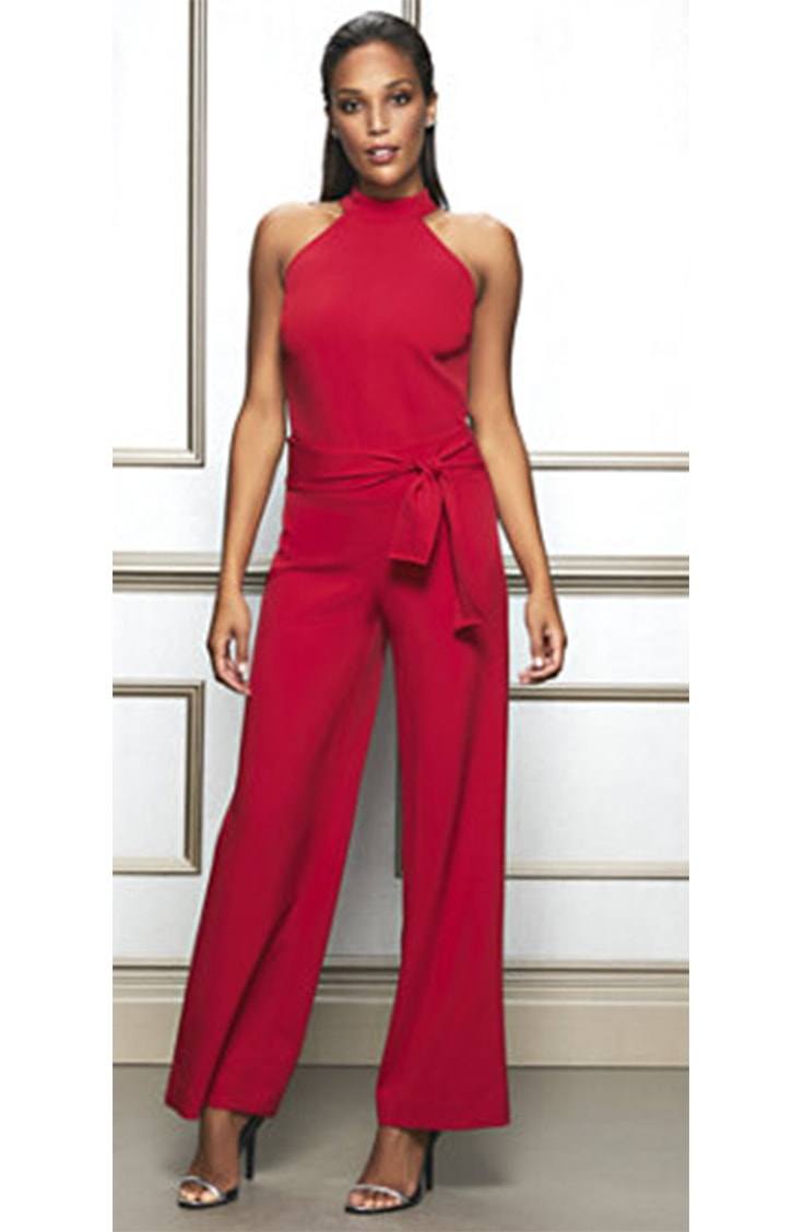 Red, tie-waisted pants