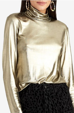 Gold metallic turtleneck