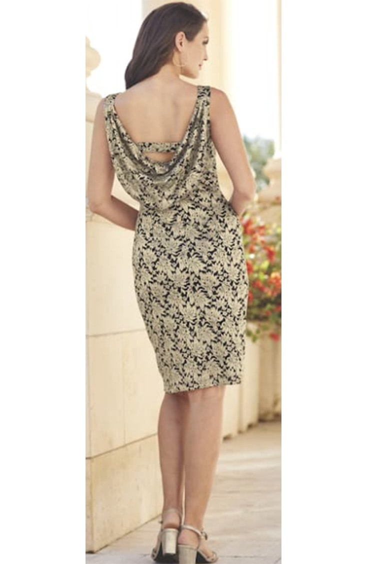 Draped back dress with gold and black pattern