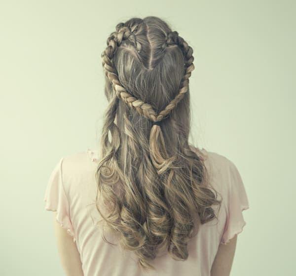Hair braided in a heart