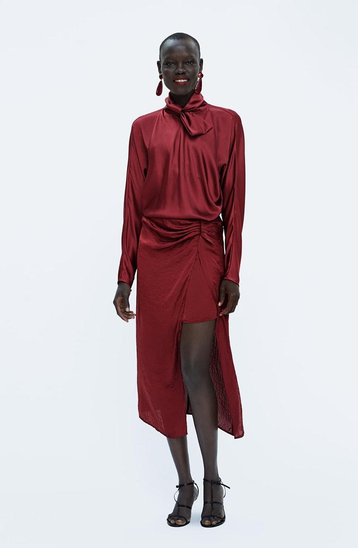 Red satin skirt from Zara