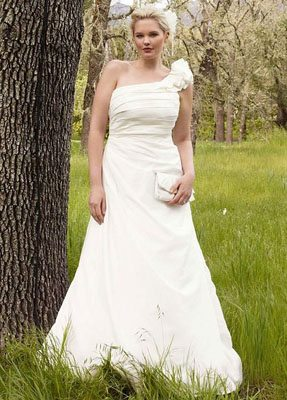 A-line Taffeta Gown with One Shoulder Detail