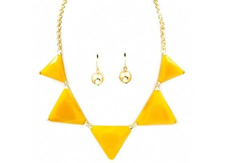 Mychaelyn's Chunky Yellow Triangle Stone Necklace Set