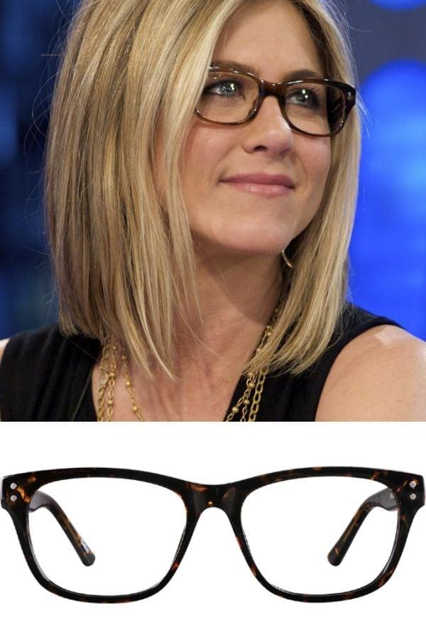 Jennifer Aniston wearing wayfarer style glasses.