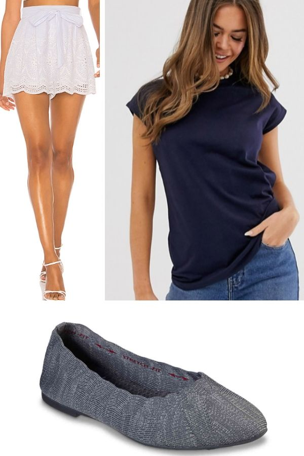 Shorts, t-shirt and flats