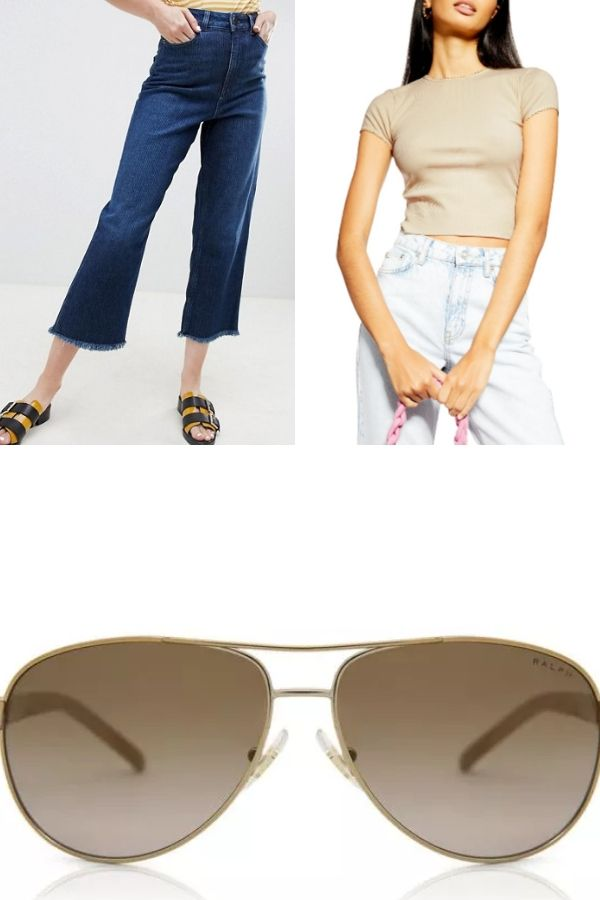 Outfit collage with jeans and crop tee and sunglasses
