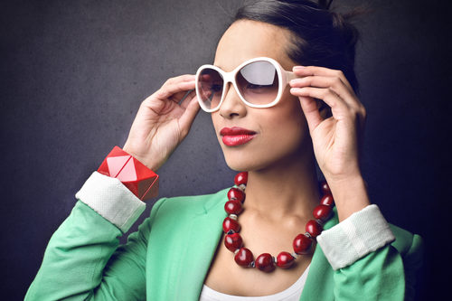 Woman with bold accessories