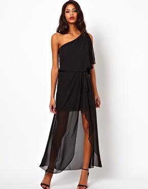 Black, one-shoulder gown