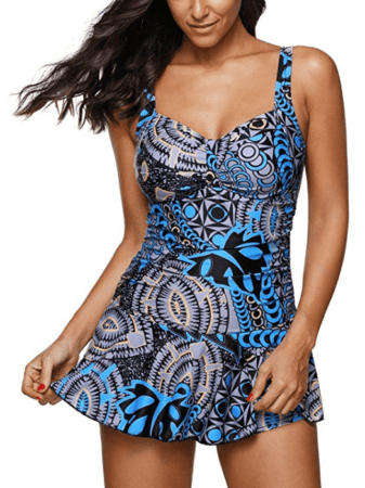 Blue patterned swim dress