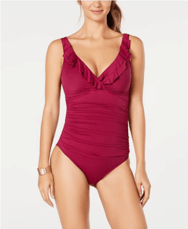 Red tummy control one-piece suit