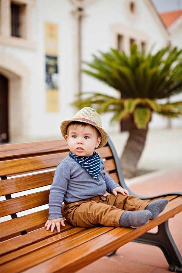 Baby wearing a bandana