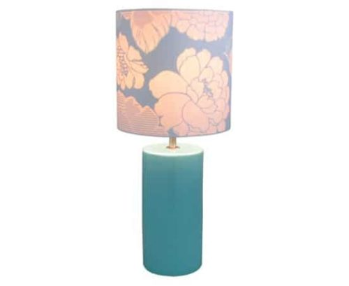 Table lamp with green base and floral shade