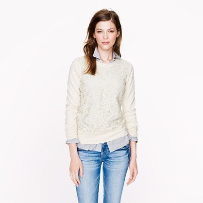 LACE-FRONT SWEATSHIRT, $88 available at jcrew.com