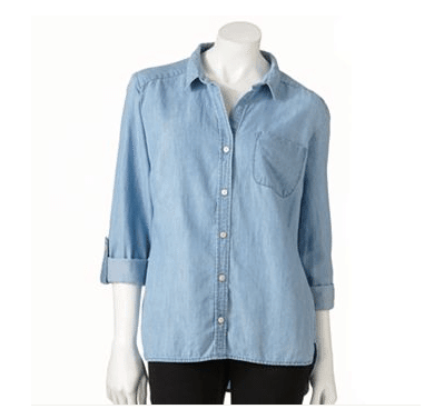 Apt. 9® Roll-Tab Chambray Shirt, $16.99 available at kohls.com