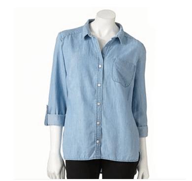 Apt. 9® Roll-Tab Chambray Shirt, $16.99 available at kohls.com