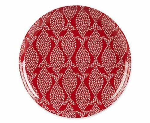 Red plates with white pattern