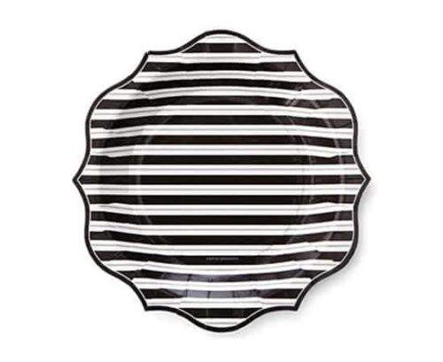 black and white striped plate