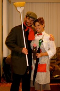 conservative halloween costumes - woman dressed as Mary Poppins with man dressed as chimney sweep