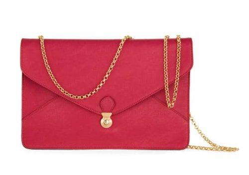 Pink handbag with chain strap
