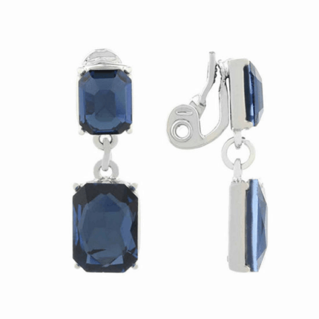 Clip on earrings with blue stone