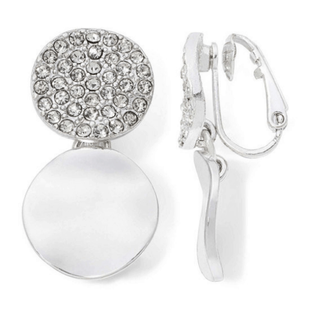 Crystal and silver clip-on earrings