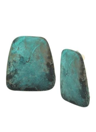 Green stone clip-on earrings