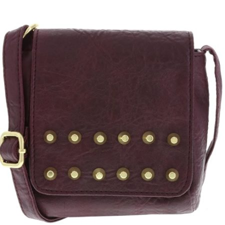 Dark brown handbag with metal embellishment