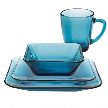 blue glass dinnerware