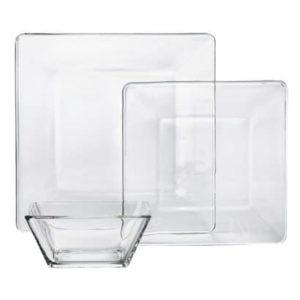 square gglass dinnerware