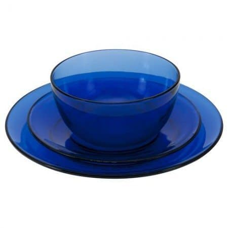 An 18-piece presence cobalt dinnerware set, which  sells for $29.99, reduced  from $78, at anchorhocking.oneida.com/‎