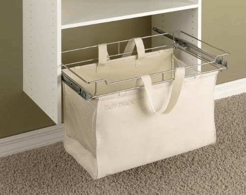 Easy track hamper for closet