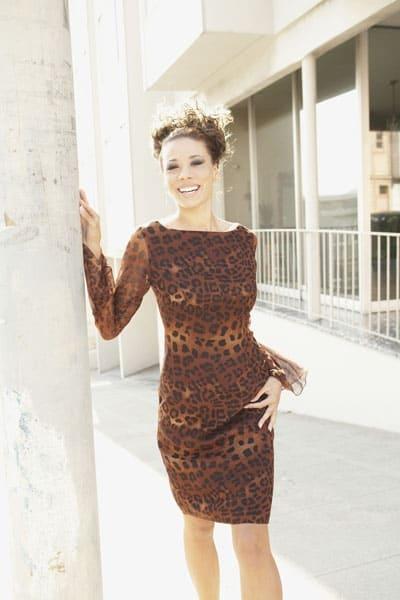 Woman wearing leopard print dress
