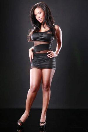 Woman wearing little black dress